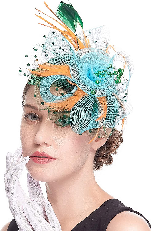 Kentucky Derby Fascinators for Women High Tea Party Headbands Wedding Cocktail Flower Mesh Feathers Hair Clip