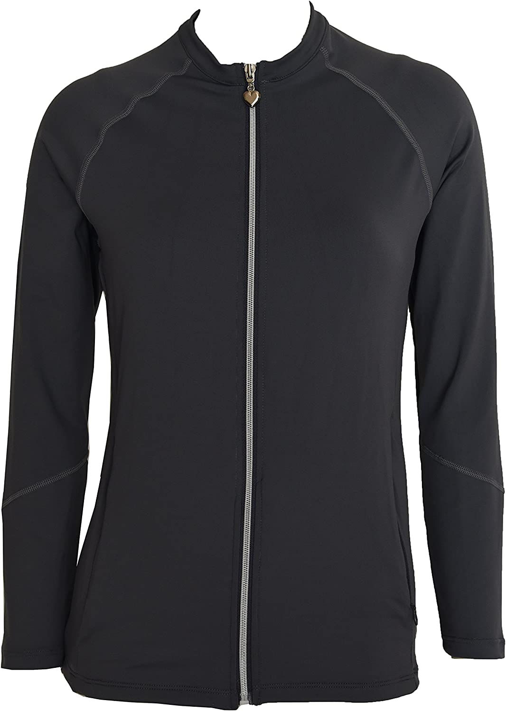 Private Island Hawaii Women UV Wetsuits Long Raglan Sleeve Rash Guard Top Zipper Jacket Pocket Outdoor Yoga (XLarge, Grey)