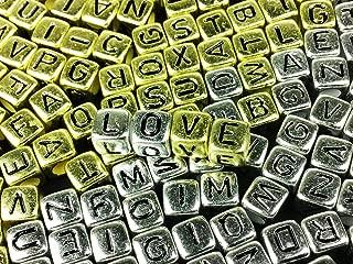 ノーブランド品 アルファベット ビーズ キューブ形 6mm 200個 ゴールド シルバー (AP0113)