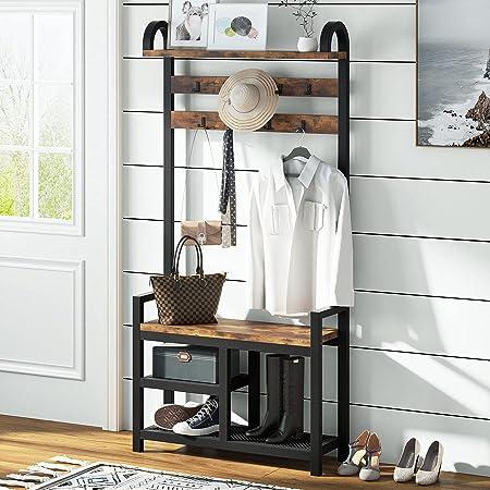Tribesigns Arbre d'entrée 3 en 1 avec étagères de rangement latérales, étagère de rangement en bois industriel avec banc à chaussures/porte-manteaux/5 crochets pour entrée, chambre à coucher, marron