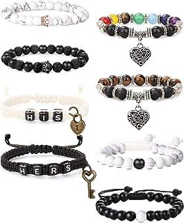 Thunaraz 8Pcs King&Queen Crown Distance Couple Bracelets for Men Women 8mm Natural Stone Beads Stretch Bracelet