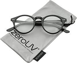 Retro Keyhole Nose Bridge Clear Lens P3 Round Glasses 46mm