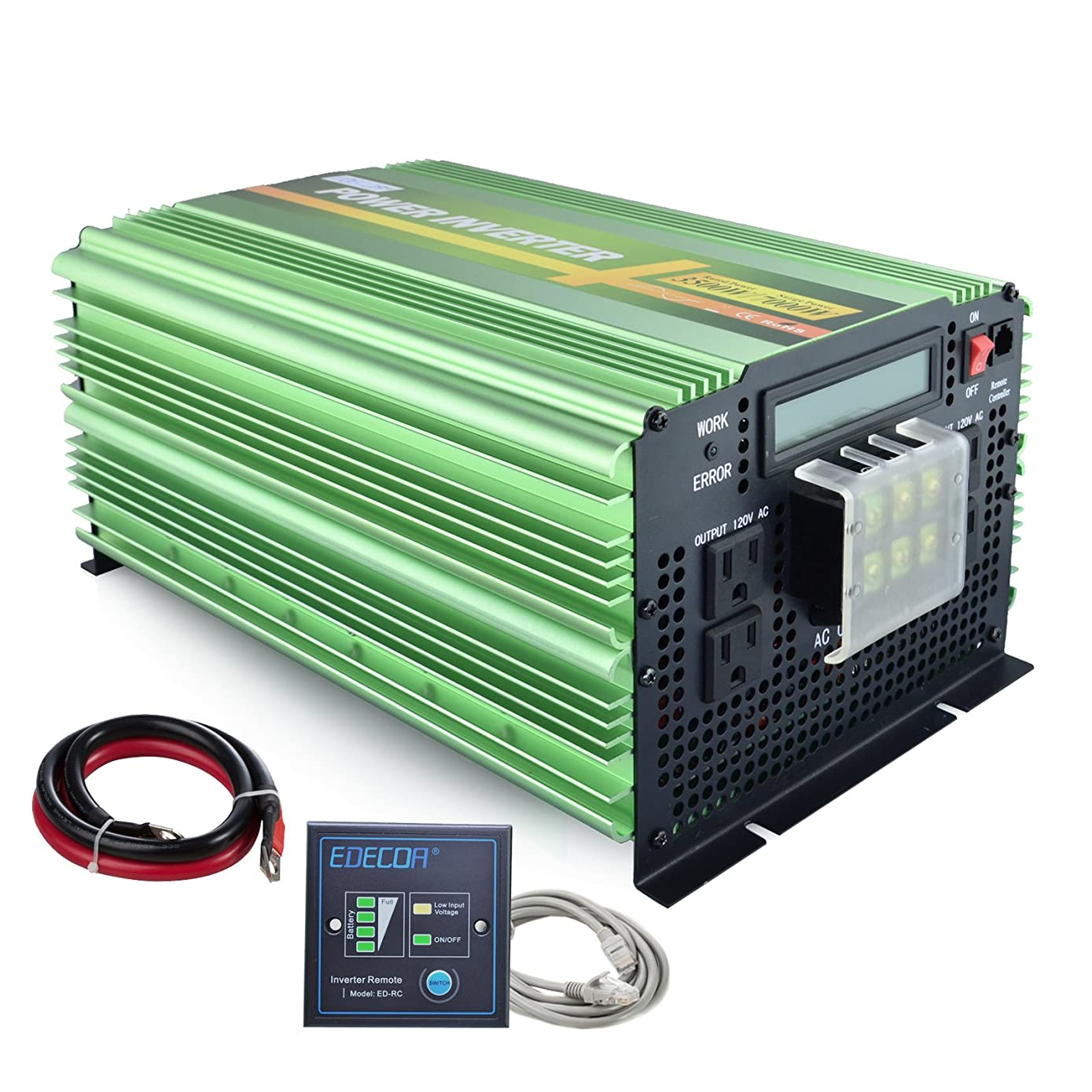 EDECOA 3500W Power Inverter Pure Sine Wave DC 12V to 110V AC with LCD Display and Remote