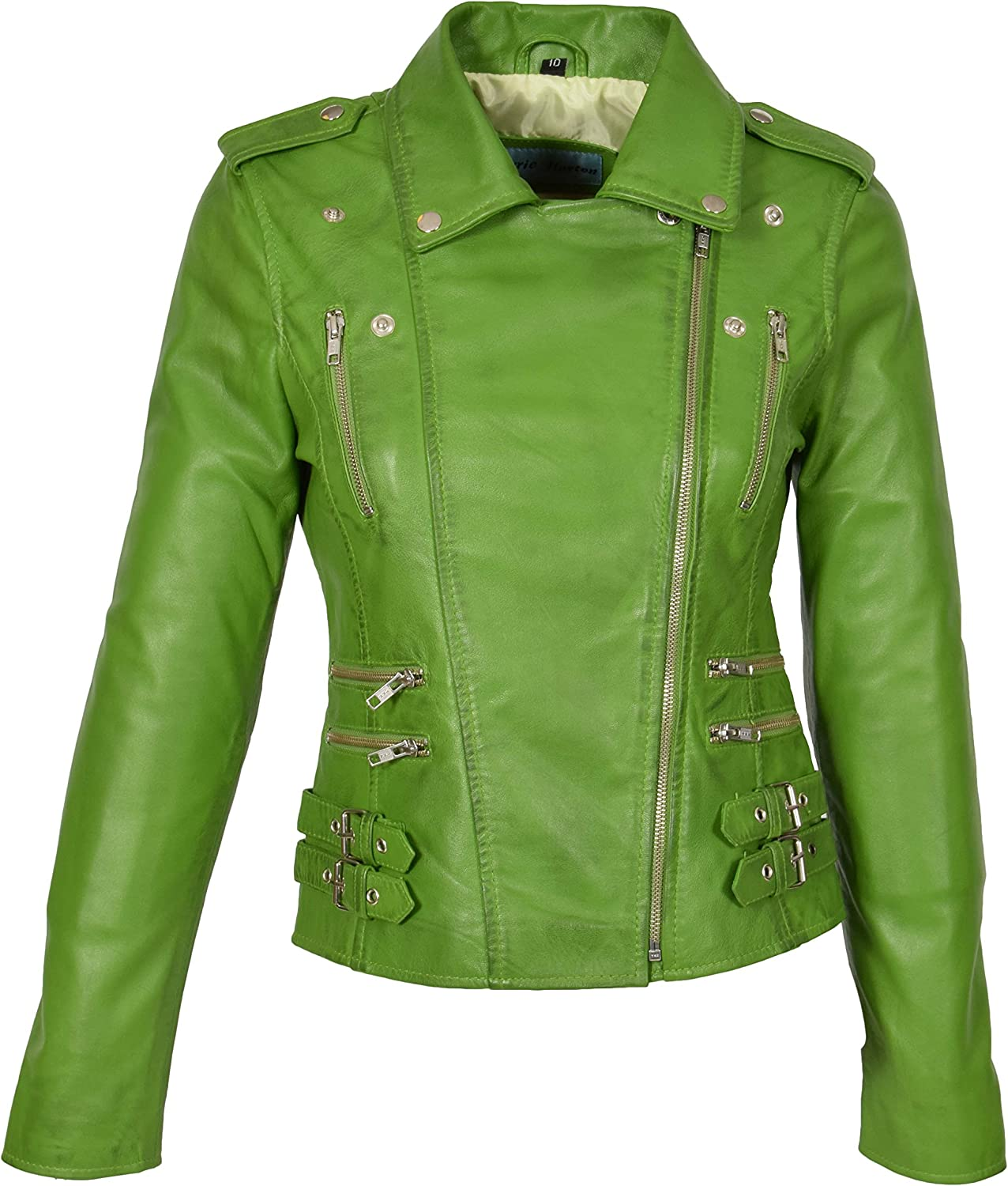 A1 FASHION GOODS Womens Leather Biker Jacket Girls Trendy Lime Coat Beyonce