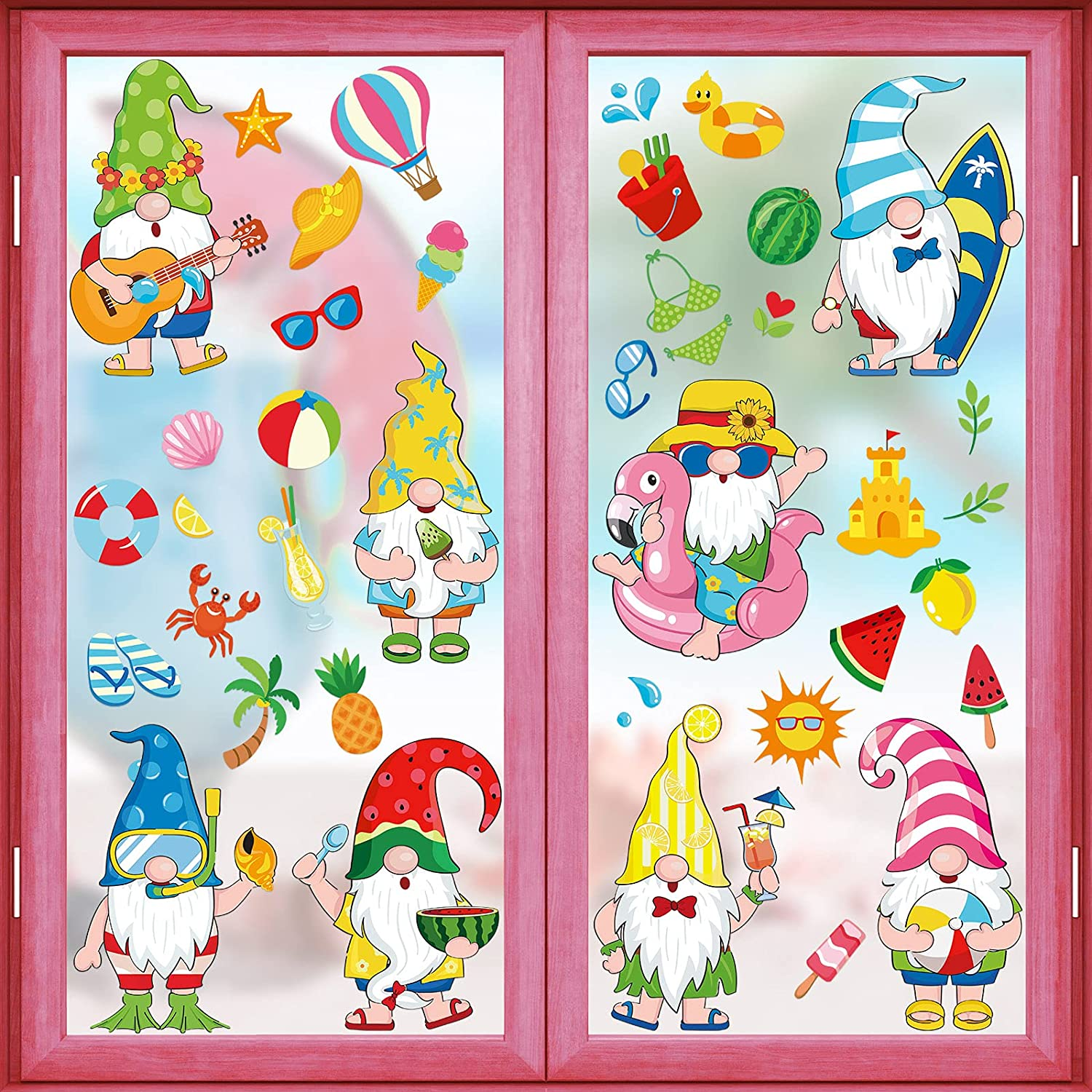 Fees free!! 8 Sheets Summer Large special price Window Clings Le Watermelon Gnome Stickers Beach
