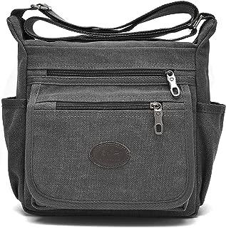Qflmy Vintage Retro Canvas Messenger Bag Crossbody Shoulder Bag (Grey)