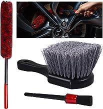 YISHARRY LI Wheel Woolie Tool Car Wheel Rim Cleaning Brush - شامل برس Wooly Rim و یک قلم مو برای جزئیات خودرو ، برس چرخ پشم مصنوعی ، Woolies تایر ، الیاف متراکم با خیال راحت چرخ ها را تمیز کنید