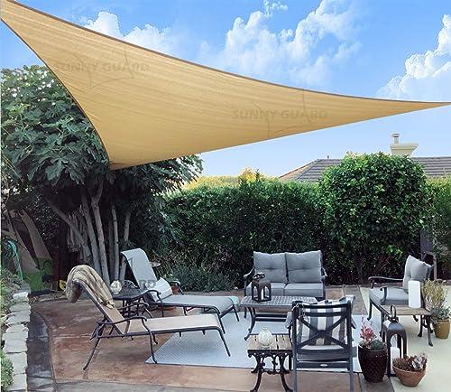 SUNNY GUARD - Toldo triangular de arena de 3,6 x 3,6 x 3,6 m, bloqueo UV para patio al aire libre o jardín