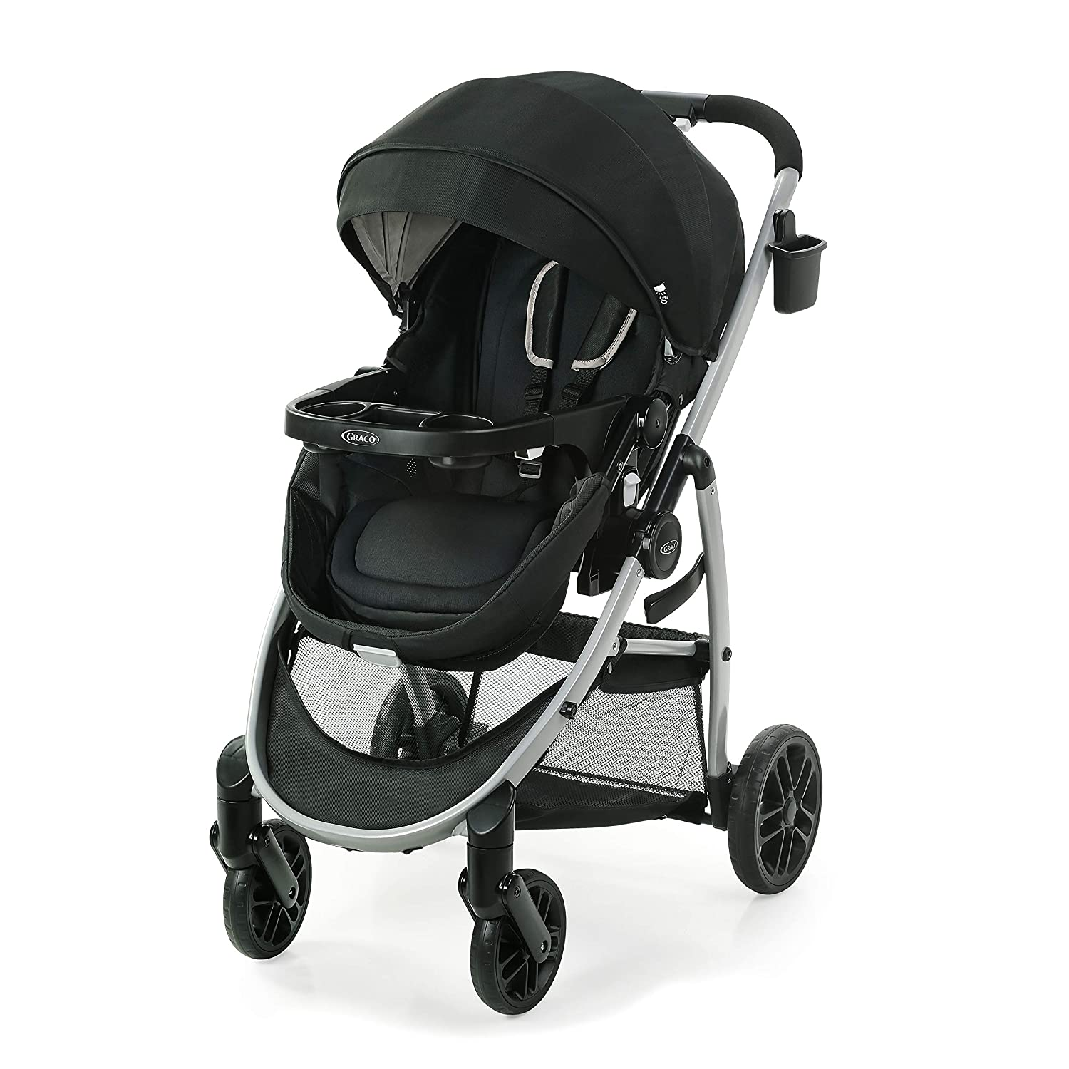 Graco Modes Pramette Stroller, Baby Stroller with True Bassinet Mode, Reversible Seat, One Hand Fold, Extra Storage, Child Tray, Pierce