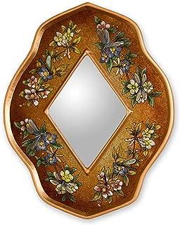 NOVICA Artisan Crafted Floral Golden Summer Garden' Reverse Painted Glass Mirror