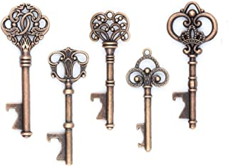 Ella Celebration 50 Key Bottle Openers, Assorted Vintage Skeleton Keys, Wedding Party Favors (50, Antique Copper)