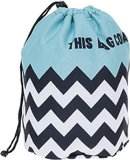 HOYOFO Travel Drawstring Closure Cosmetic Bags Makeup and Toiletries Storage Barrel Bag, Blue Stripe