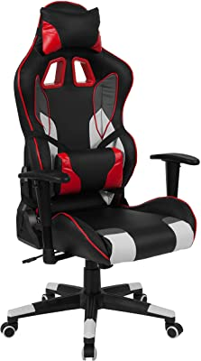 Flash Furniture Alpha Reclining Gaming Chair Racing Office Ergonomic PC Adjustable Swivel Chair with Adjustable Lumbar Support, Black/Red LeatherSoft