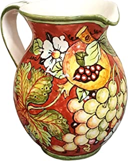 CERAMICHE D'ARTE PARRINI - Italian Ceramic Art Pottery Jar Pitcher Vino Vine 0.4 Gal Hand Painted Decorated Grape Made in ITALY Tuscan