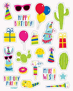 Unique Party 73662 Llama Birthday Sticker Sheets, Pack of 4