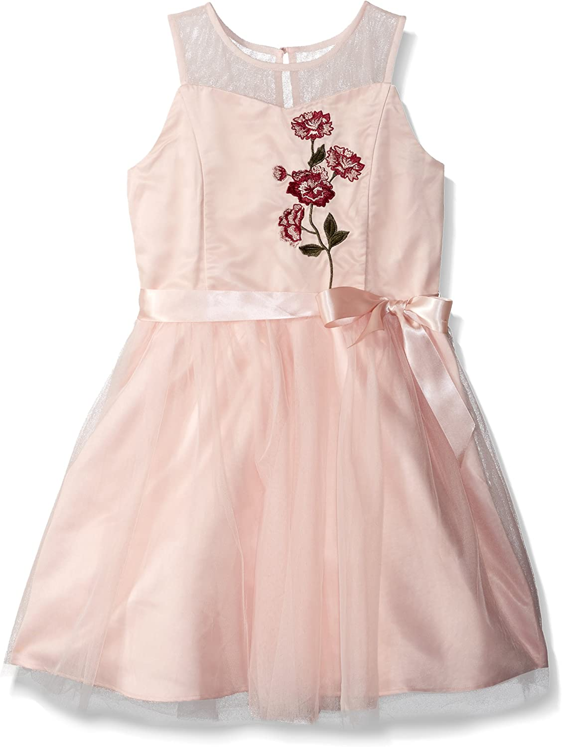 ZUNIE Girls' Big Embroidered Floral Dress with Ribbon at Waist