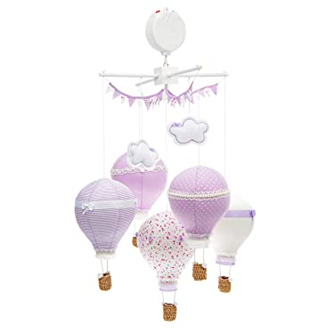 Baby Crib Mobile, Soothing Musical Hanging Baby Mobile Toy for Boys or Girls, Gorgeous Lavender & White Decoration and Infant Gift