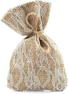 Ella Celebration 25 Burlap and Lace Favor Bags Rustic Wedding or Party Rustic Decorations Set (Large (5.5 Inch), Burlap & Lace)