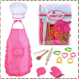 HmiL-U Chef Set for Kids - 13 Pcs Kids Cooking and Baking Set Includes Kids Apron, Chef Hat, Utensils, Cooking Mitt for Ki...