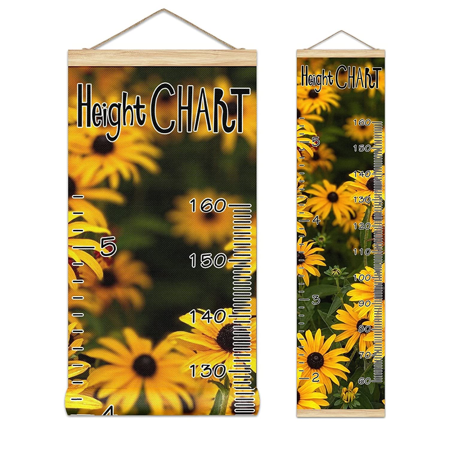 Kids Growth Chart Little Max 68% OFF 2021 new Yellow Daisy Floral Frame Wood Plant Re