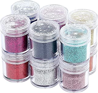 12 Colors Glitter Dust Powder Set for Nail Art Tips Decoration, Make up, Eye Shadow, DIY and Crafts Doubtless Bay