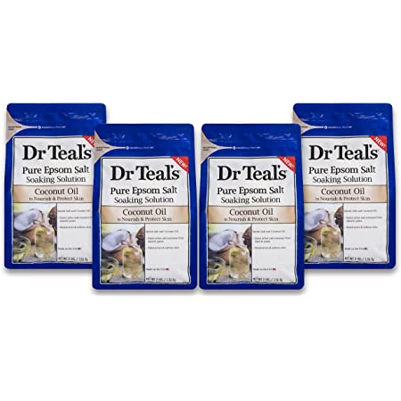 Dr Teal's Epsom Salt Soaking Solution, Coconut Oil, 4 Count - 3lb Bags, 12lbs Total
