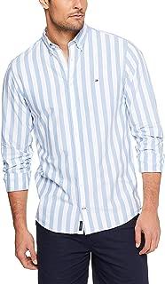 Tommy Hilifiger Men's Fresh Stripe Shirt, Blue/Bright White