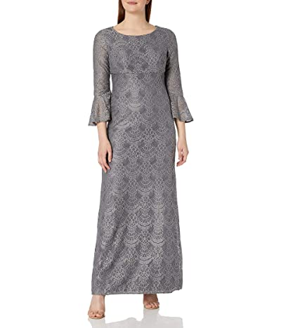 Alex Evenings All Over Lace Gown With Bell Sleeves Dress