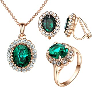 Bridal Jewelry Set Cubic Zirconia Necklace Color Stone Rings Wedding Princess Cut Crystal Cushion Wedding Jewelry