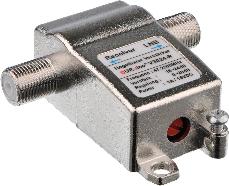 DUR-line V3024-R Amplificador Inline Mini par SAT y DVB-T recepción Amplificación hasta 24 dB