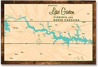 Lake Gaston VA North Carolina Vintage-Style Map Rustic Wood Art Print by Lakebound (12