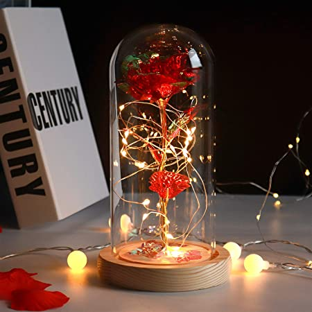 Colorful Artificial Flower Rose Gift, Colorful Red Rose Flower with Led Light String,Lasts Forever in A Glass Dome,Unique Gifts for Women,Girls,Christmas,Wedding,Valentine's Day, Anniversary, Birthday