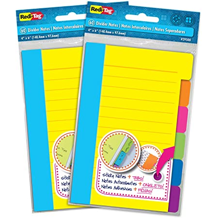 Redi-Tag Divider Sticky Notes, Tabbed Self-Stick Lined Note Pad, 60 Ruled Notes per Pack, 4 x 6 Inches, Assorted Neon Colors, 2 Pack (10290)