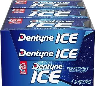 Dentyne Ice Sugar Free Gum (Peppermint 16 Piece Pack of 9)