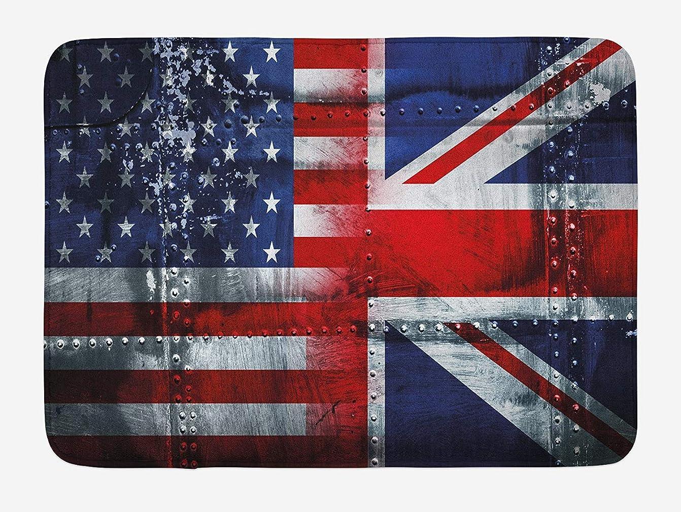脚本連隊関連付けるユニオンジャックバスマット、英国と米国旗ヴィンテージ、滑り止めバッキングとぬいぐるみバスルームインテリアマットのアライアンス一緒テーマ作曲、40 x 60 CMインチ、ネイビーブルー [並行輸入品]