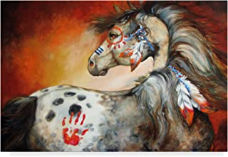 Trademark Fine Art 4 Feathers Indian War Pony by Marcia Baldwin, 12x19, Multicolor
