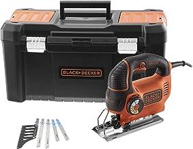 Black+Decker KS801SEK5A-QS - Sierra de calar con cable, 550 W, profundidad de corte: 5 mm, metal y 80 mm, madera, 5 hojas