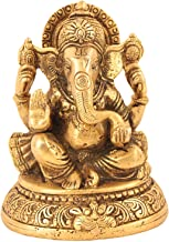 Handmade Indian Brass Religious Items Indian Decor Ganesha Statue Hindu Temple Puja 5 inch