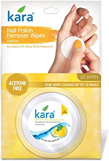 Kara Wipes Nail Polish Remover, Lemon (30 Pulls)