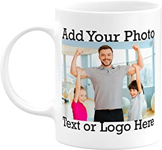 Custom Photo Coffee Mugs, 11 oz. Personalized Mugs w/Picture, Logo, Text, Name - Taza Personalizada, Personalized Photo Gifts for Grandpa, Grandma, Mother, Father, Office, Christmas Gifts