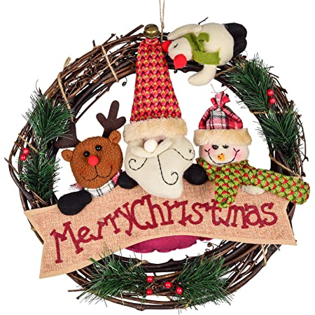 Evergreen wreath Free Shipping Deer Christmas Wreath Holiday Wreath Wreath with snow Rustic Christmas Wreath Best Christmas Wreath