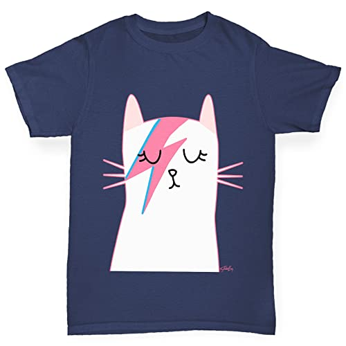 c87eaf5531 TWISTED ENVY Girl's Rock and Roll Cat Printed Cotton T-Shirt