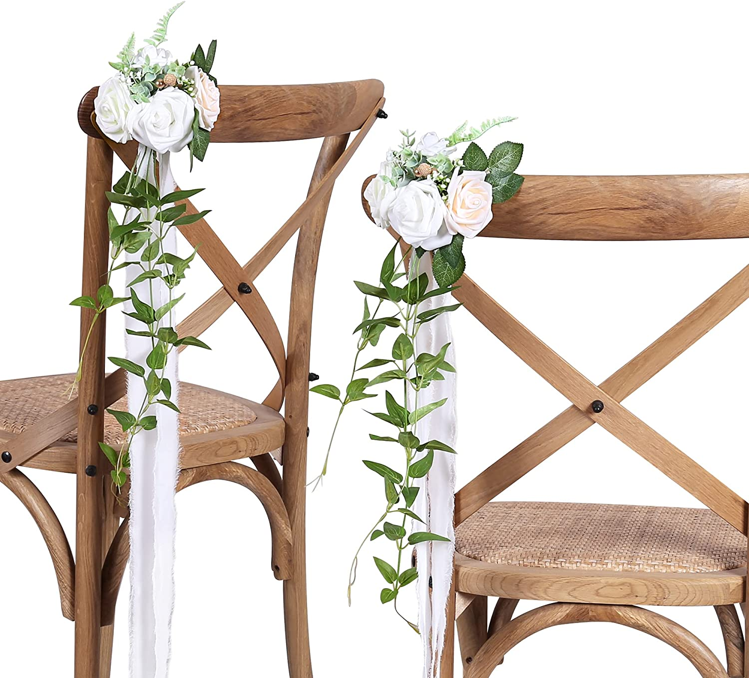 DORIS HOME Wedding Aisle Decorations White Pew Flowers Set of 10 for Wedding Ceremony Party Chair Decor with Artificial Flowers Eucalyptus and Ribbons