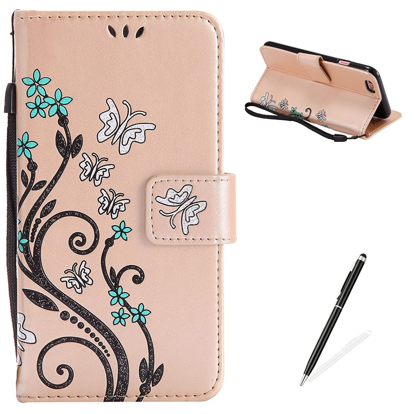 MAGQI Apple iPhone 6/6S 4.7'' Case, Premium Slim Fit Flip PU Leather Stand Wallet Book Style Case with Card Slots Magnetic Closure Embossed Rose Flower Butterfly Pattern Cover