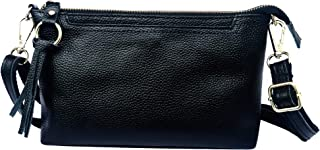ANBENEED Soft Genuine Leather Small Crossbody Clutch Bag Crossbody Shoulder Purse with Zipper Pocket for Women Ladies