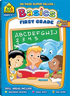 School Zone - First Grade Basics Workbook - 96 Pages, Ages 5 and Up, 1st Grade, Phonics, Vowels, Beginning Reading, Math, Telling Time, Money, and ... Workbook Series) (Super Deluxe Workbook)