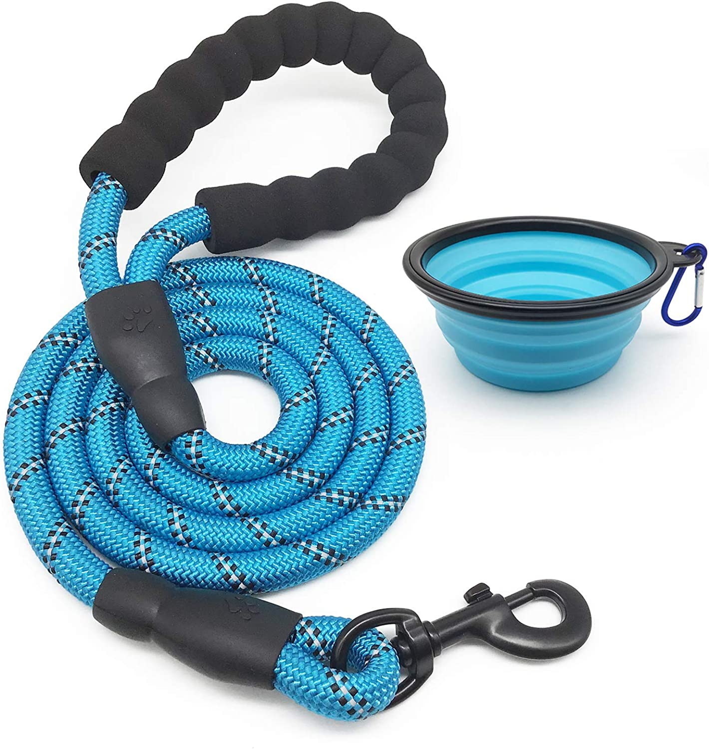 5 FT Strong Dog Leash with Comfortable Padded Handle Highly Reflective Threads for Medium and Large Dogs with a Free Collapsible Pet Bowl 360° Swivel Clip Strong Nylon Climbing Rope Leash bluee color