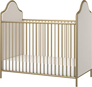 Little Seeds Piper Upholstered Metal Crib, Gold