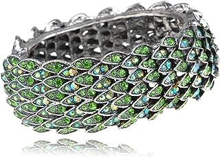 Womens Silvery Tone Green Rhinestones Multicolor Dragon Scales Bird Feather Bangle Bracelet