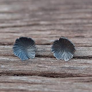 Pendientes flores mujer, pendientes boton plata oxidada.